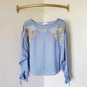 Lucky Brand Embroidered Chambray Dolman Blouse S